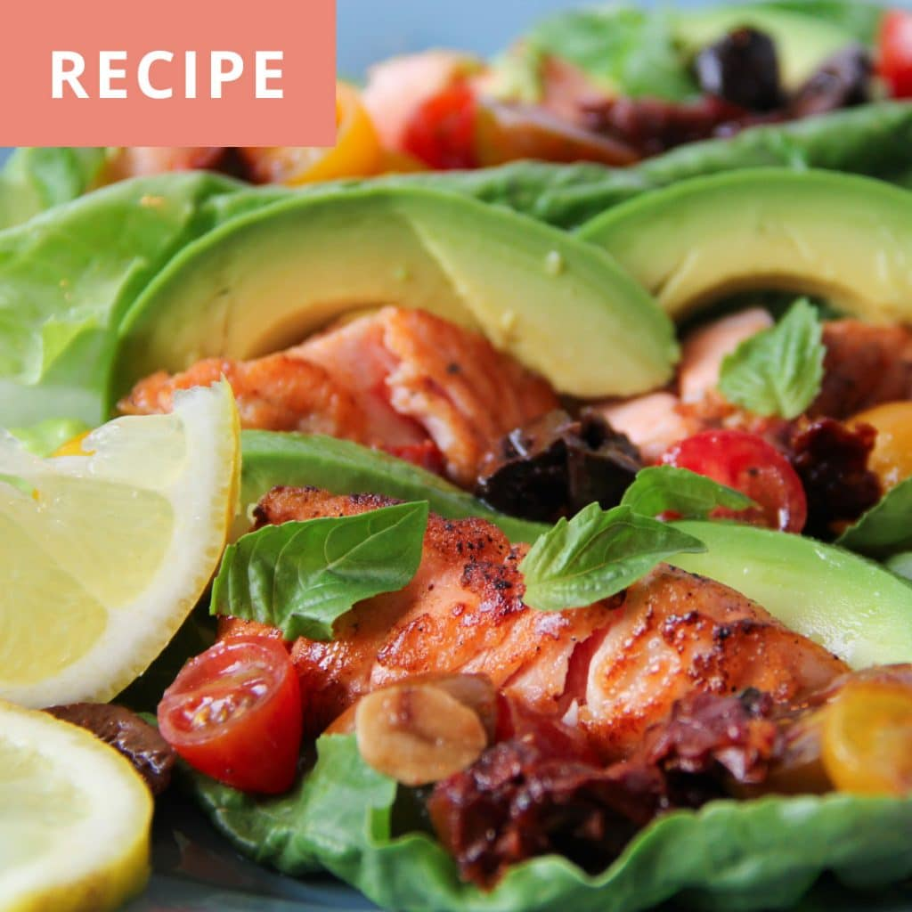 Salmon and Tomato Virgin Sauce Lettuce Wrap