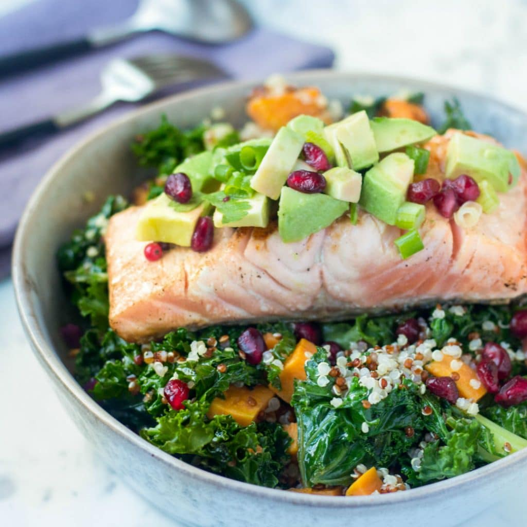 ROASTED SWEET POTATOES AND KALE SALAD + GRILLED SALMON FILLET + AVOCADO SALSA